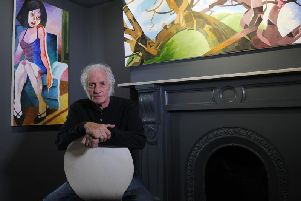 Artist Dudley Edwards, pictured with his work at Redhouse Originals, Cheltenham Mount, Harrogate..28th August 2019.Picture by Simon Hulme