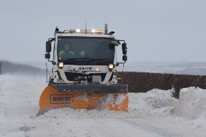 A gritting lorry in action in the East Riding last year.
