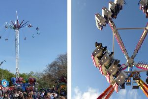 Thrilling rides at Scarborough fair including new Sky Flyer (left)