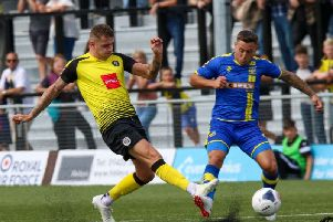 Joe Leesley in action for Harrogate Town against Solihull Moors. Picture: Matt Kirkham