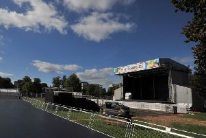 Just waiting for the riders and the crowds - Anticipation is high as the Harrogate Fan Zone is constructed on the Stray.