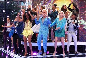 The celebrity contestants on stage at the Strictly Come Dancing launch show on August 26, 2019 in London. (Photo by Lia Toby/Getty Images)