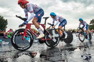 Great Britain's Harry Tanfield,  John Archibald and Dan Bigham men set off on their way to 3rd place in the UCI World Championships 201 Mixed Team Relay in  Harrogate yesterday, Sunday.