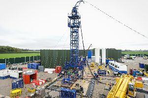 The tower which carries the pipeline down into the Bowland shale at the Preston New Road gas fracking site
