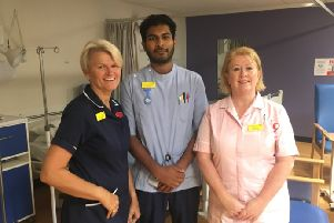 Arti Sivanandarajah (centre) with Granby Ward colleagues promoting Harrogate and District NHS Foundation Trust's next recruitment event