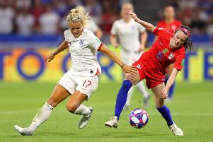 Semi-final heartache: Rachel Daly challenges USA's Rose Lavelle  during the 2019 FIFA Women's World Cup encounter in France. Picture: Richard Heathcote/Getty Images