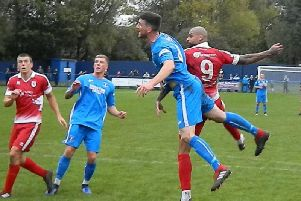 Striker Sefton Gonzales heads home Colne's winner in the FA Cup tie at Dunston