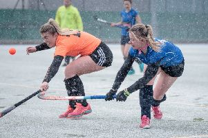 Action from Harrogate Ladies 1s' victory over Leeds Adel. Picture: Caught Light Photography