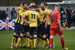 Tadcaster Albion celebrate one of their five second-half strikes against Bamber Bridge. Picture: Matthew Appleby