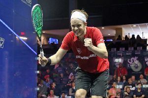James Willstrop is celebrating winning a gold medal at the 2018 Commonwealth Games. Picture: Squashpics.com