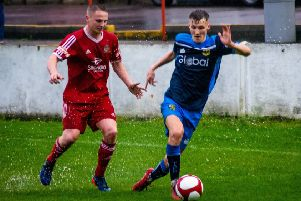 Casey Stewart in action for Tadcaster Albion at Ossett Town where he bagged a brace in midweek. Picture: Matthew Appleby