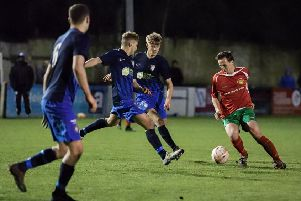Michael Thompson in action for Harrogate Railway during Monday's home loss to Worksop. Picture: Caught Light Photography