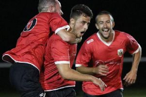 Boro's Ben Cohen is congratulated following his late winner against Goole. Picture: Craig Dinsdale