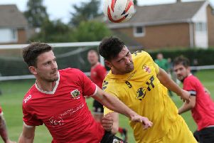 Dan Thirkell was on target during Knaresborough Town's home defeat to Liversedge. Picture: Craig Dinsdale
