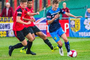 Casey Stewart was on target for Tadcaster Albion as they got the better of Sheffield FC. Picture: Matthew Appleby