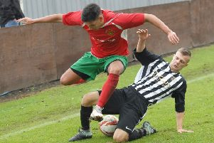 Harrogate Railway's Nuno Pereira in action against Penistone Church. Picture: Adrian Murray