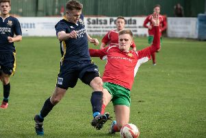 Marcus Day in action for Harrogate Railway against Bridlington Town. Picture: Caught Light Photography