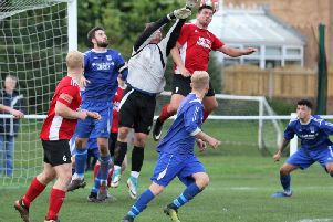 Paul Beesley netted on his first start for Knaresborough Town, opening the scoring in Saturday's victory over Hall Road Rangers. Picture: Craig Dinsdale