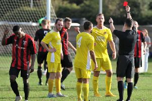 Nick Black was controversially sent off at Maltby Main, but Knaresborough Town still managed to hold out for victory. Picture: Craig Dinsdale