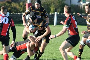Luke Price-Gerrard on the charge for Harrogate Pythons at Baildon.