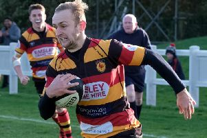 Andrew Lawson scored the decisive try in Harrogate RUFC's victory at Vale of Lune. Picture: Richard Bown