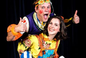 Launch night for Jack and the Beanstalk - Harrogate Theatre panto legend Tim Stedman as Simon Trott and Harriett Hare, who plays Jack.