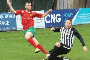 Fatlum Ibrahimi netted for Harrogate Railway against Liversedge. Picture: Adrian Murray