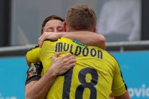 Jack Muldoon is congratulated after finding the net against Hartlepool United. Picture: Matt Kirkham