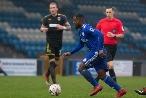Actions from FC Halifax Town v AFC Wimbledon, FA Cup R2, at the Shay. Mekhi McLeod