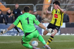 Ryan Fallowfield provided the assist for Harrogate Town's second goal against Stockport County. Picture: Matt Kirkham