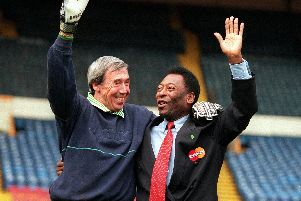 Gordon Banks , left, with Pele. Picture: Clive Mason/ALLSPORT