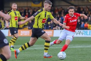 Jack Muldoon fires home Harrogate Town's equaliser during Saturday's National League clash with Ebbsfleet United. Picture: Matt Kirkham