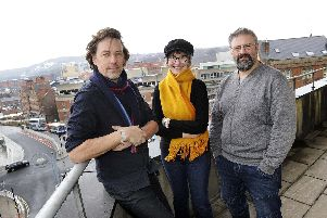 Nick Morgan of Kollider and Mel Kanarek and Chris Dymond of Sheffield Digital at Castle House - the awards will be one of the first events at the citys new tech hub.