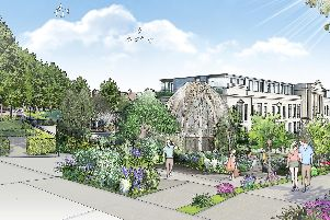 The future of Crescent Gardens? A visualisation of how the restaurant would look in the public space aspect of the 75m plans for Harrogate's former council headquarters.