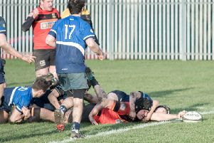 Hugh Tatlow stretches to register a try for Harrogate Pythons during Saturday's victory over Sheffield Medicals.
