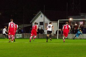 Alistair Waddecar fires home from the spot for Bamber Bridge during their 3-1 win over Colne in the NPL League Cup earlier in the season (photo: Ruth Hornby)