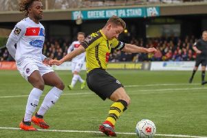 Harrogate Town's Josh Falkingham in action against Dagenham & Redbridge. Picture: Matt Kirkham