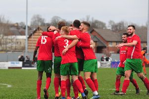 Harrogate Railway celebrate after taking a 2-0 lead. Pictures: Gerard Binks