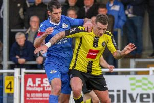 Harrogate Town's Joe Leesley in action against Eastleigh. Picture: Matt Kirkham