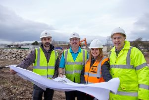 Dr Ian Wellock and Andy Foster of Primary Diets and Jenna Strover and Rob Barker of Potter Space review plans for the new building. (S)