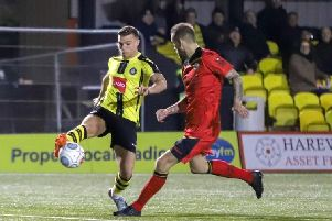 Jack Muldoon's stoppage-time penalty saw Harrogate Town to victory over Bromley. Picture: Matt Kirkham