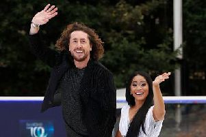 Ryan Sidebottom with his Dancing on Ice partner Brandee Malto. Picture: John Phillips/Getty Images