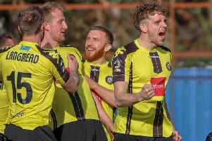 Harrogate Town celebrate at Braintree Town. Picture: Matt Kirkham