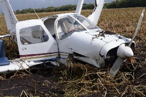 The crashed Piper PA28 aircraft piloted by Robert Murgatroyd who has been jailed for three and a half years at at Manchester Crown Court after he crashed the plane with three birdwatchers on board. Photo: GMP/PA Wire