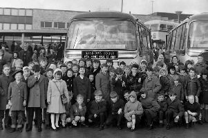 Children of Prestige Limited employees gather outside the Cattle Market/bus station on December 30th, 1966, ready for a day trip to Belle Vue Circus.