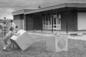 The new School Loaning Nursery School seen from the children's play area. The picture was taken in  July 1971.