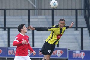 Warren Burrell in action during Harrogate Town's 2-1 defeat at Salford City in January 2018. Picture: Matt Kirkham