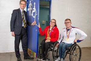CEO Nigel Pulling, Hannah Cockroft MBE and Nathan Maguire at the opening.