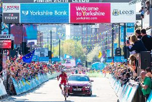 Picture by Alex Whitehead/SWpix.com - 05/05/2018 - Cycling - 2018 Tour de Yorkshire - Stage 4: Halifax to Leeds - Stephane Rossetto of Team Cofidis wins Stage 4.