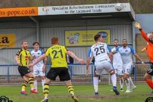 George Thomson heads home Harrogate Town's winner at Havant. Pictures: Matt Kirkham